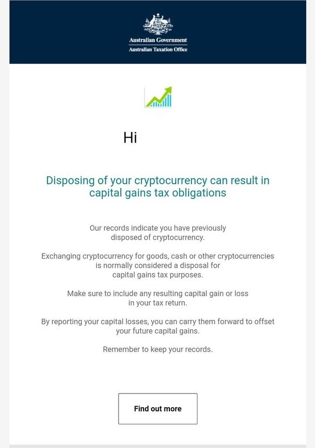Australia crypto tax warning letter
