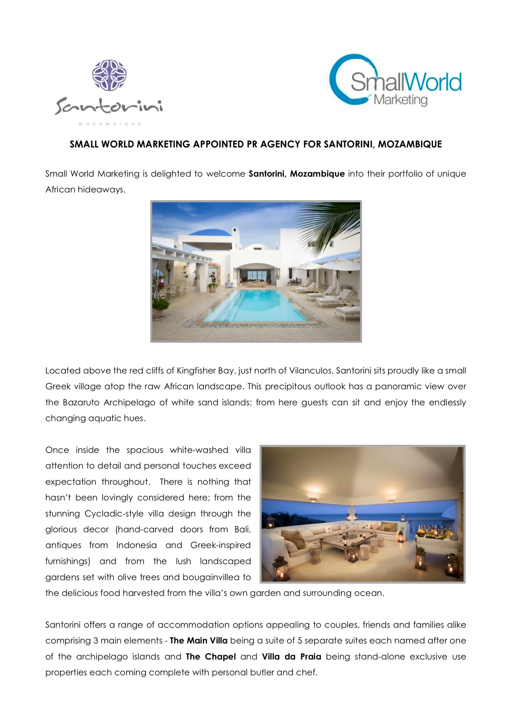 Santorini Press Release