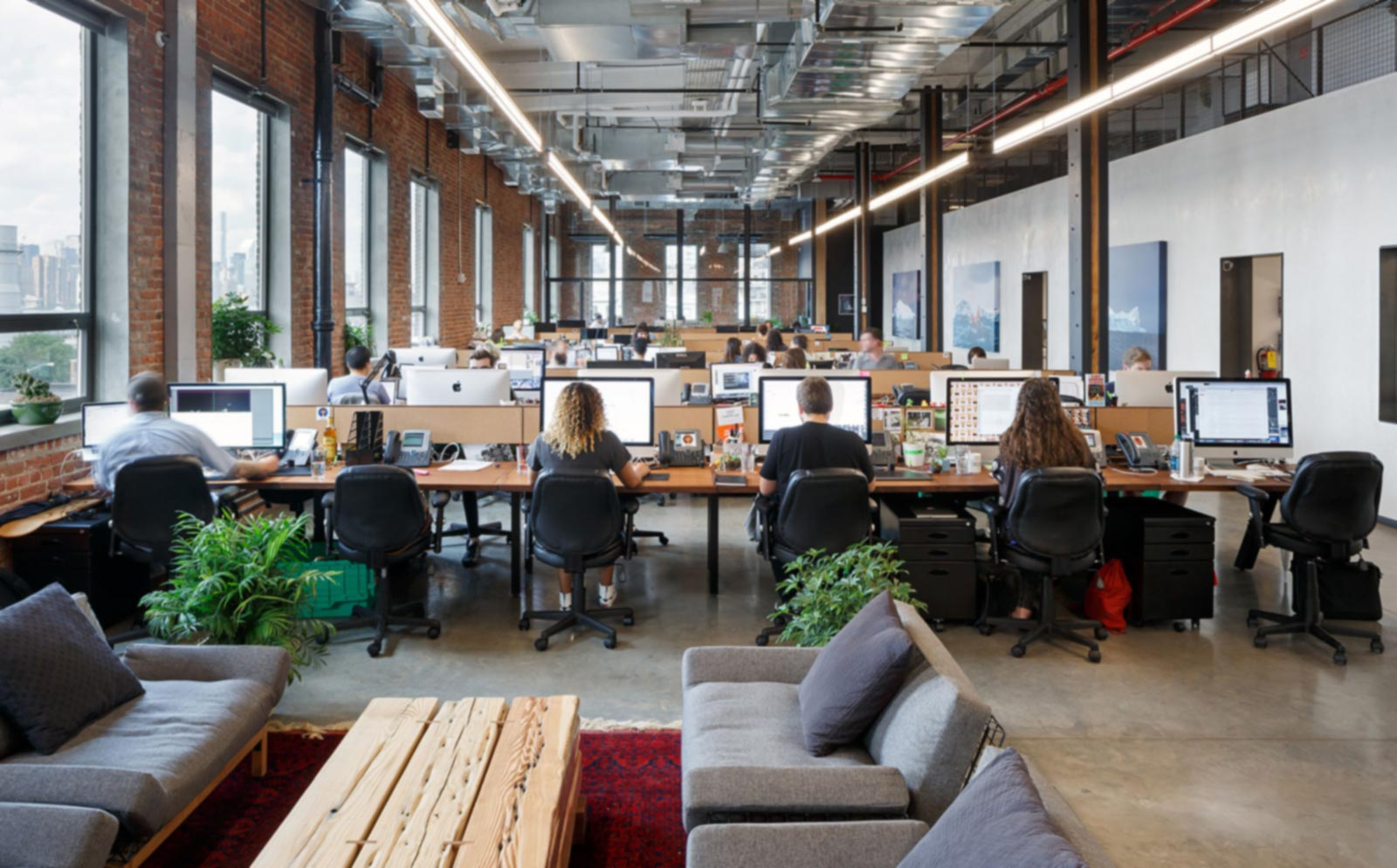 Shared office space, employees working during business hours
