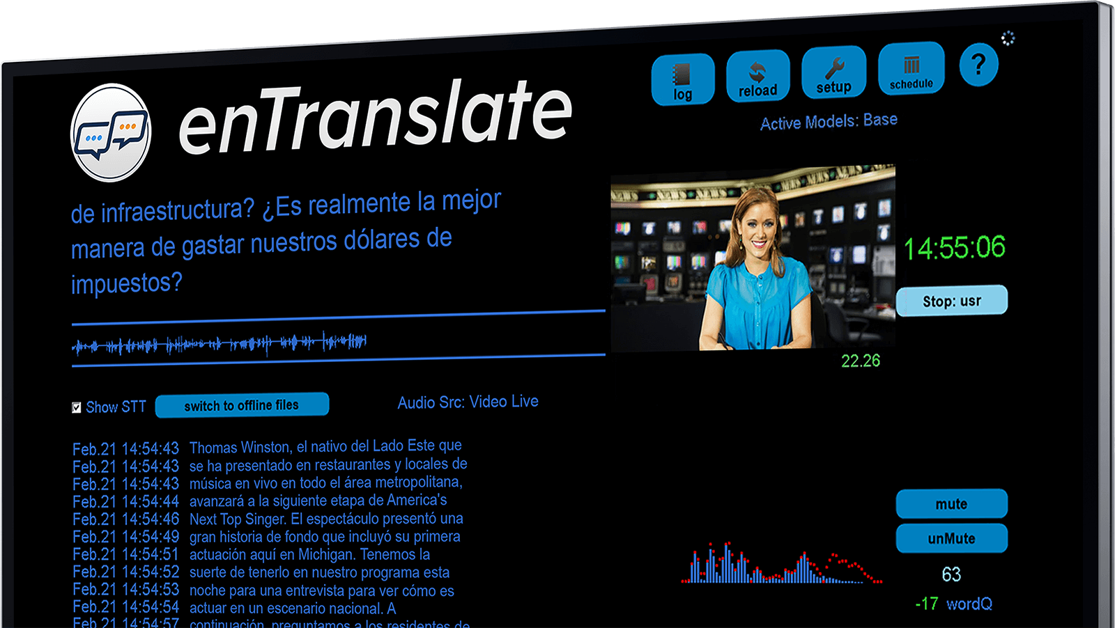 A screenshot of enTranslate's main screen