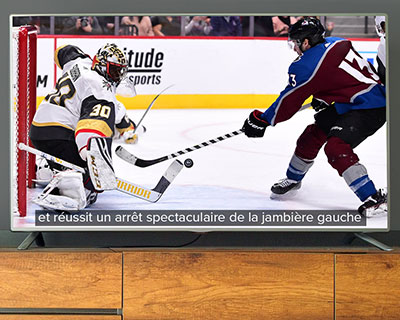Hockey game being translated to a different language in the closed captioning