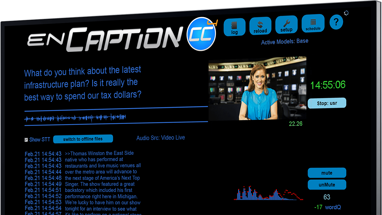A screenshot of enCaption's main captioning screen
