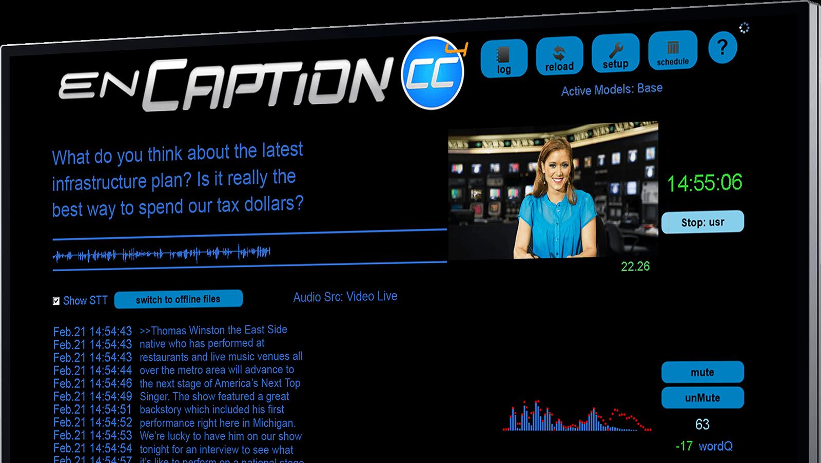 A screenshot of enCaption's main captioning screen