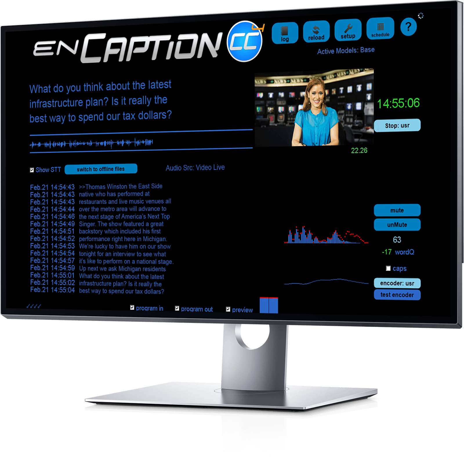 desktop example of encaption user interface