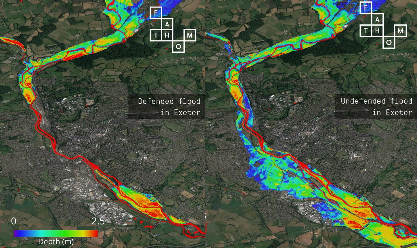 Fathom maps 100% of flood defences. Without defences in place, flood risk drastically increases