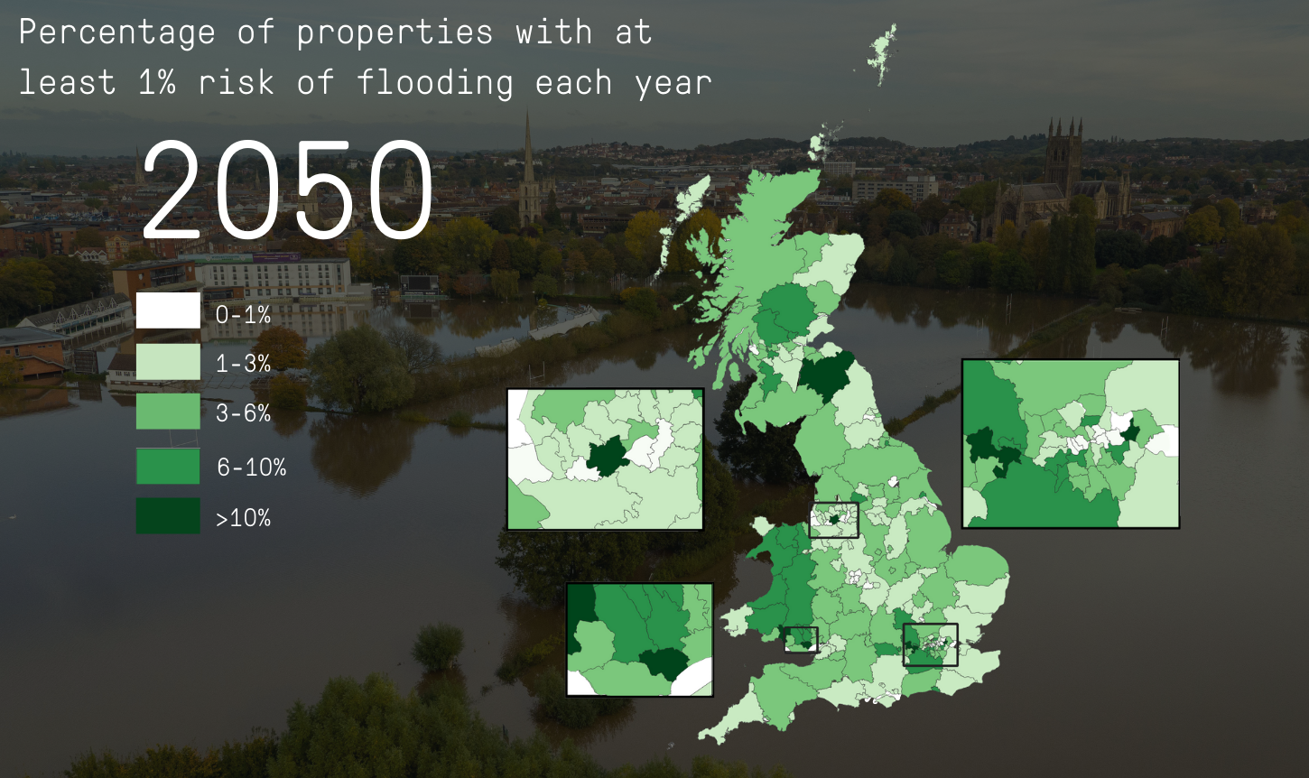 By 2050, properties at risk of flooding will increase by 24%. This chart demonstrates that.