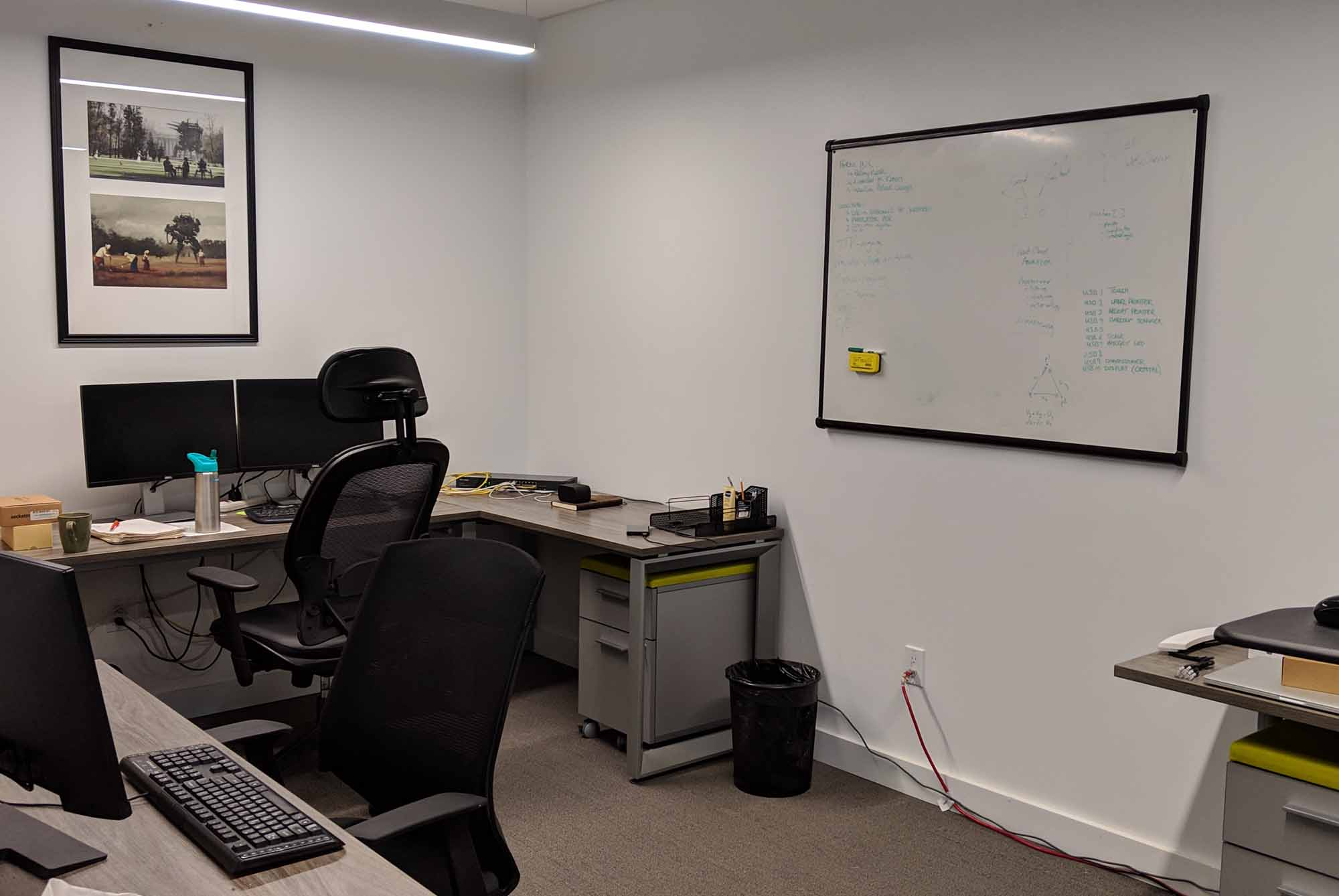 NUVO Network - Private Office with White board, desks and chairs. NUVO is a hub of innovation, creativity and entrepreneurship, and our mission is to bolt wings on people and their businesses.