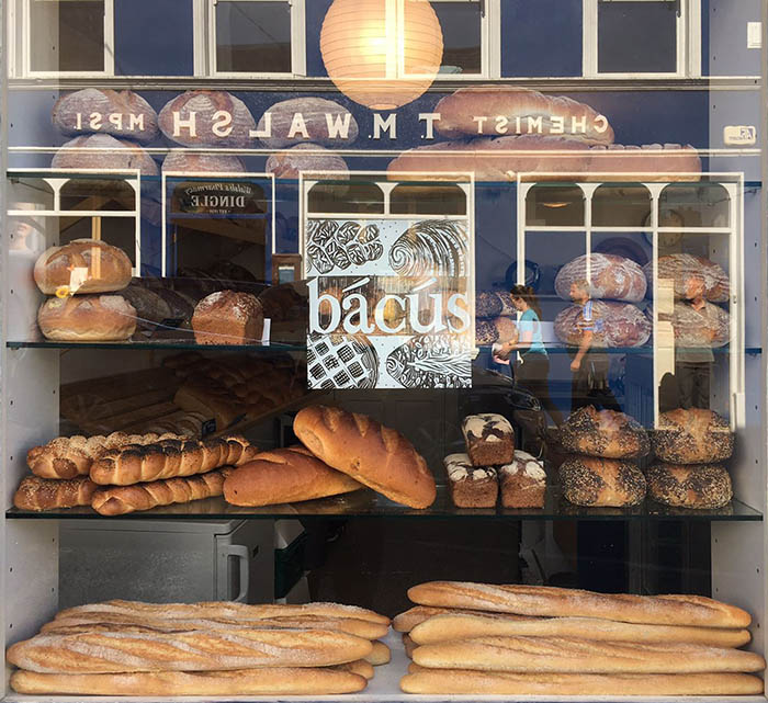 Loaves of Bácús Bhréannain bread in the window of the new bakery shop in Dingle