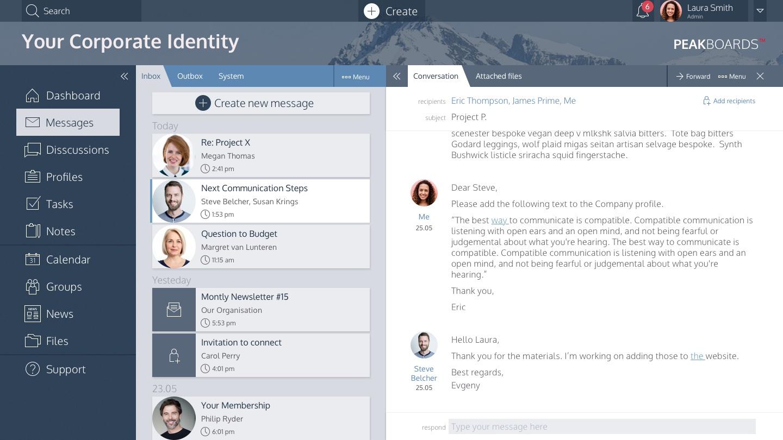 Peakboards Social Network und Kommunikation