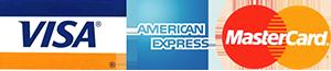 Logo Visa, American Express, MasterCard small