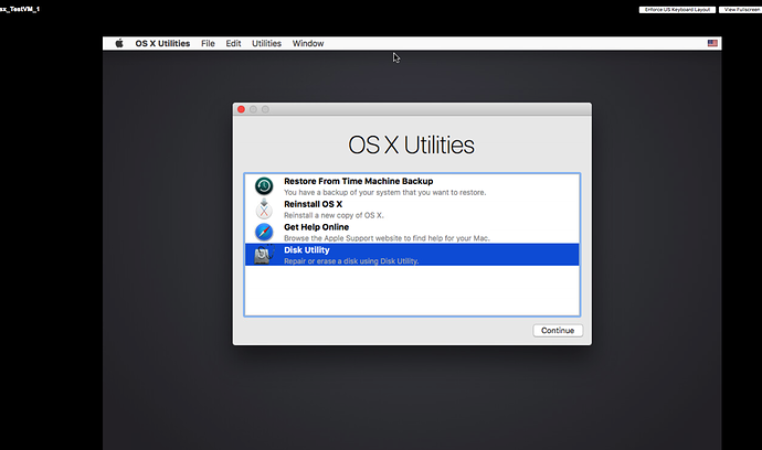 Disk Utility screen