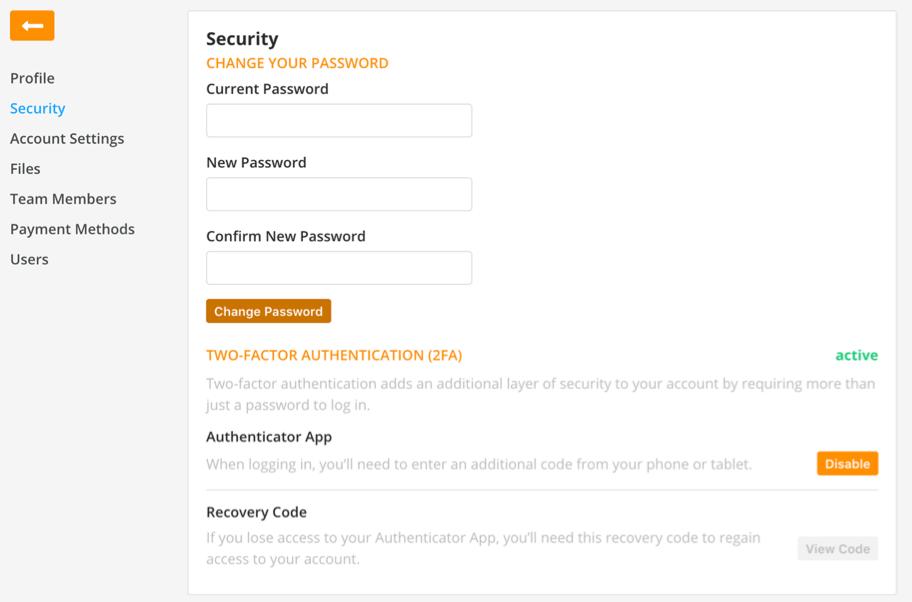 Change your password screen
