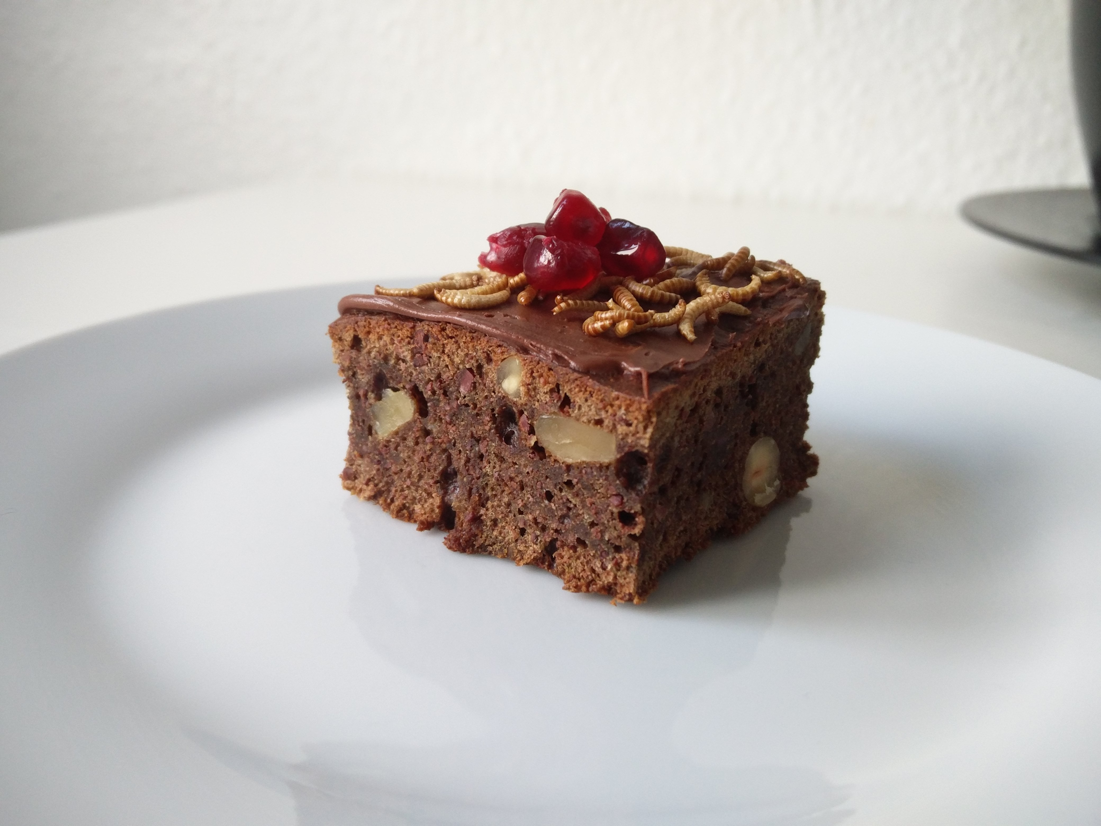 Cake topped with Freeze dried insects