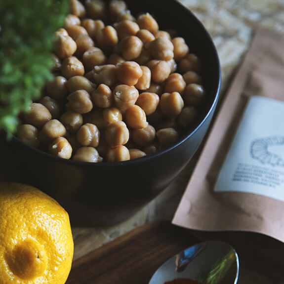 Hummus ingredients with buffalo larvae flour