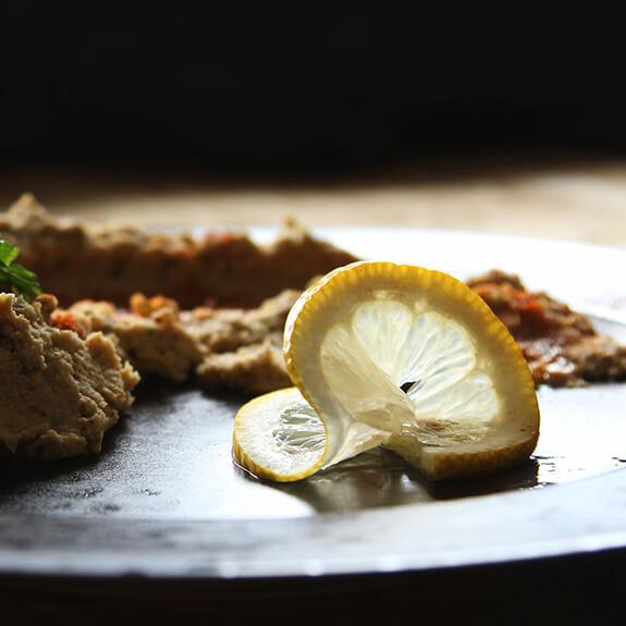Hummus dish with buffalo worms