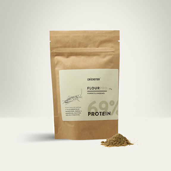 Crickster packaging- Cricket flour made from freeze dried Crickets.