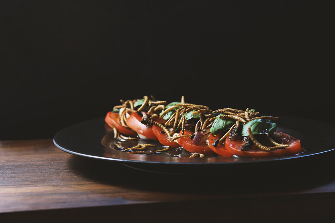 caprese with mealworms