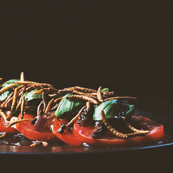 Close-up of Caprese with edible insects