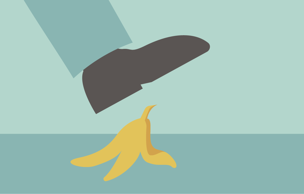 Man stepping on a banana