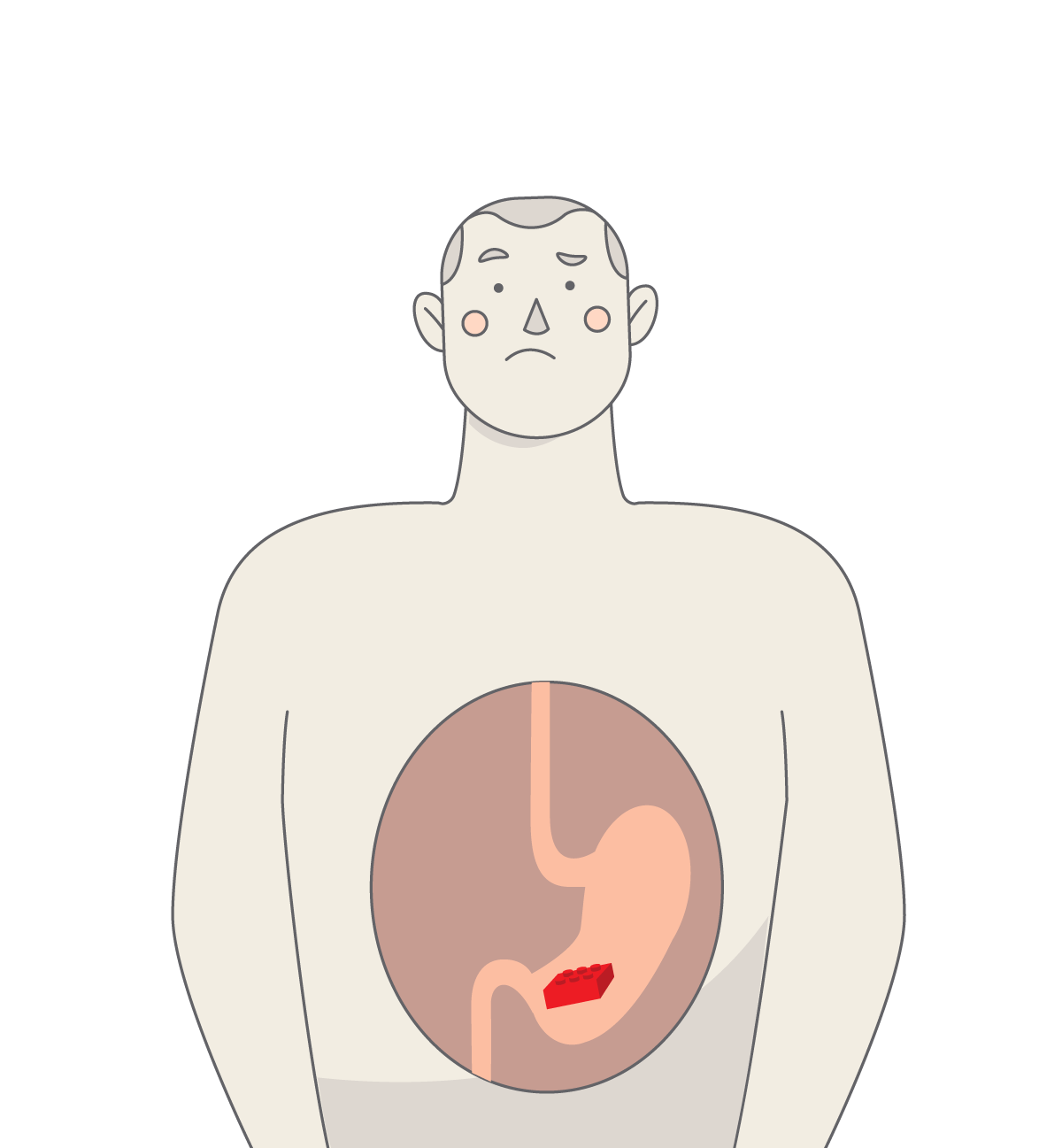 Man with a Lego brick in his belly (illustration)