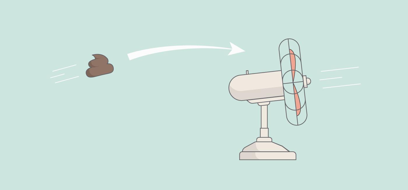 Illustration of a poop flying towards a fan