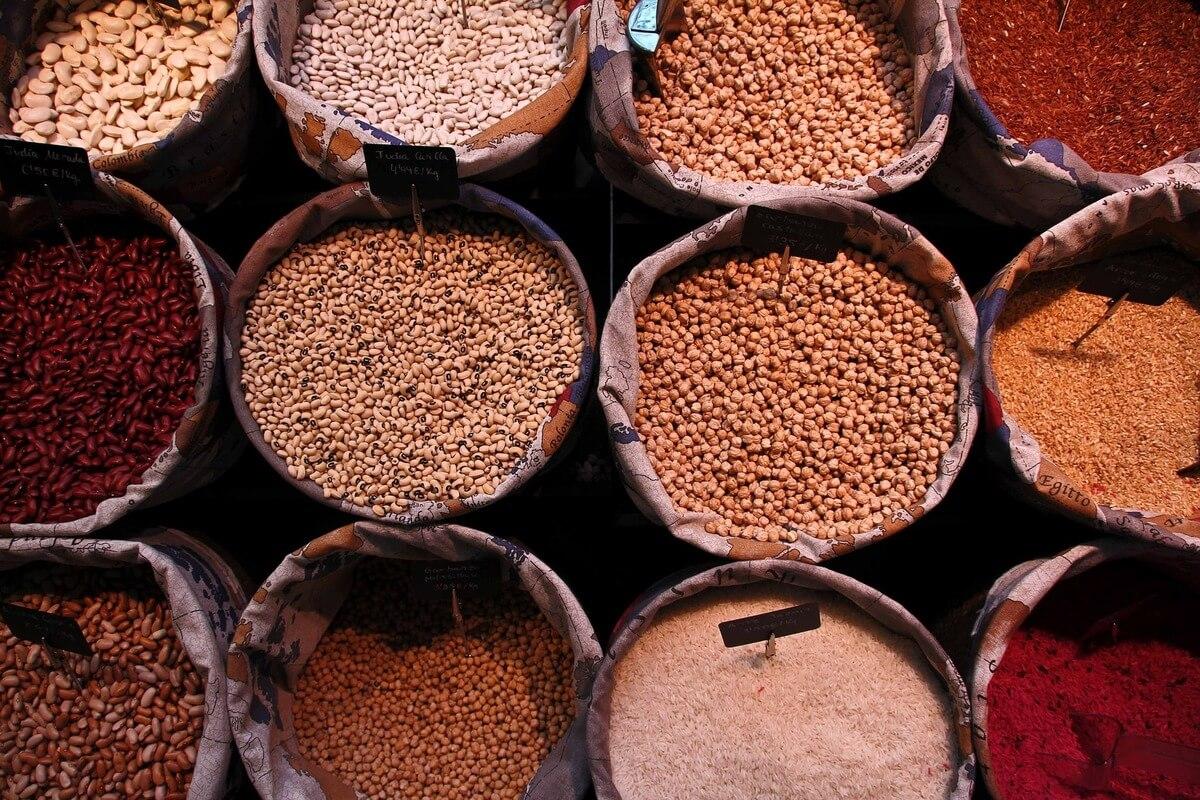grains in bags