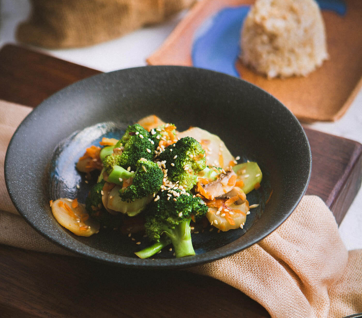 Colorful dish with broccoli