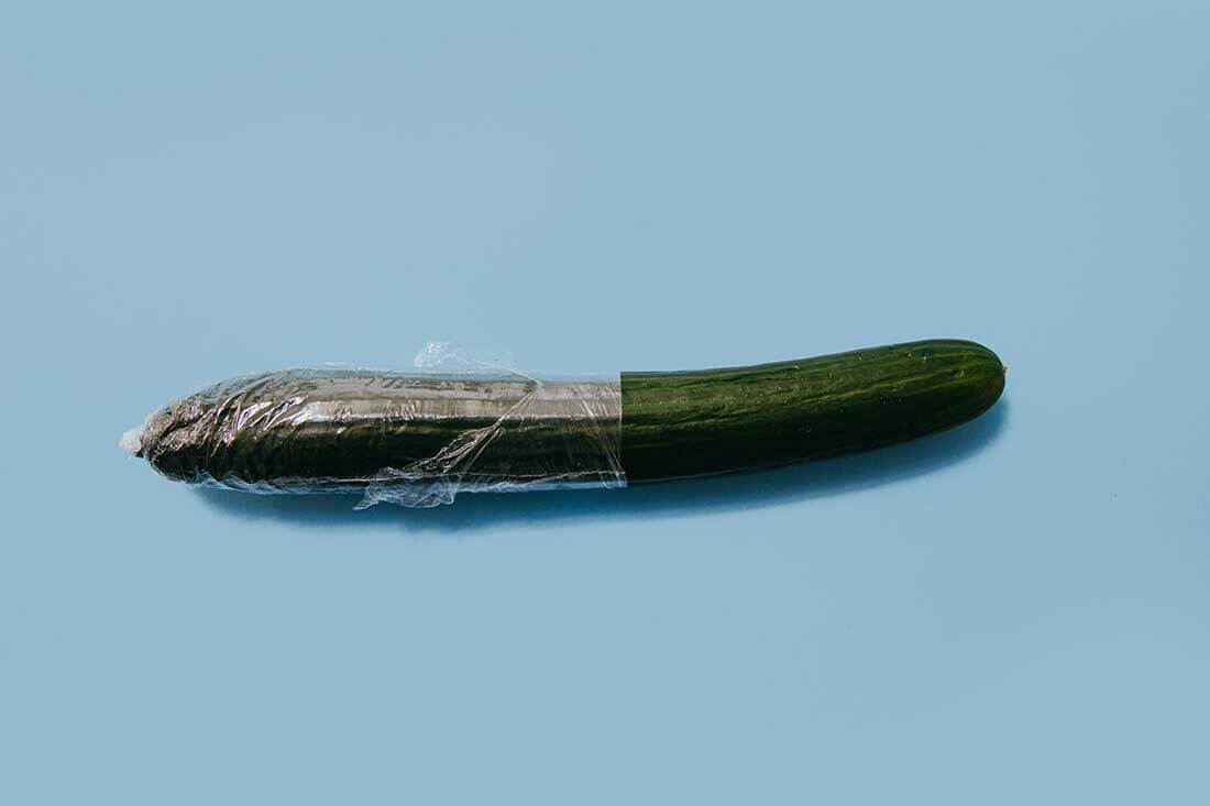 Cucumber wrapped in plastic