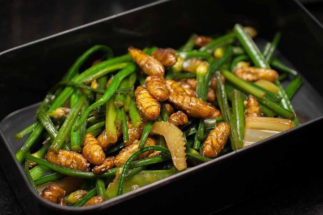 Silkworm dish