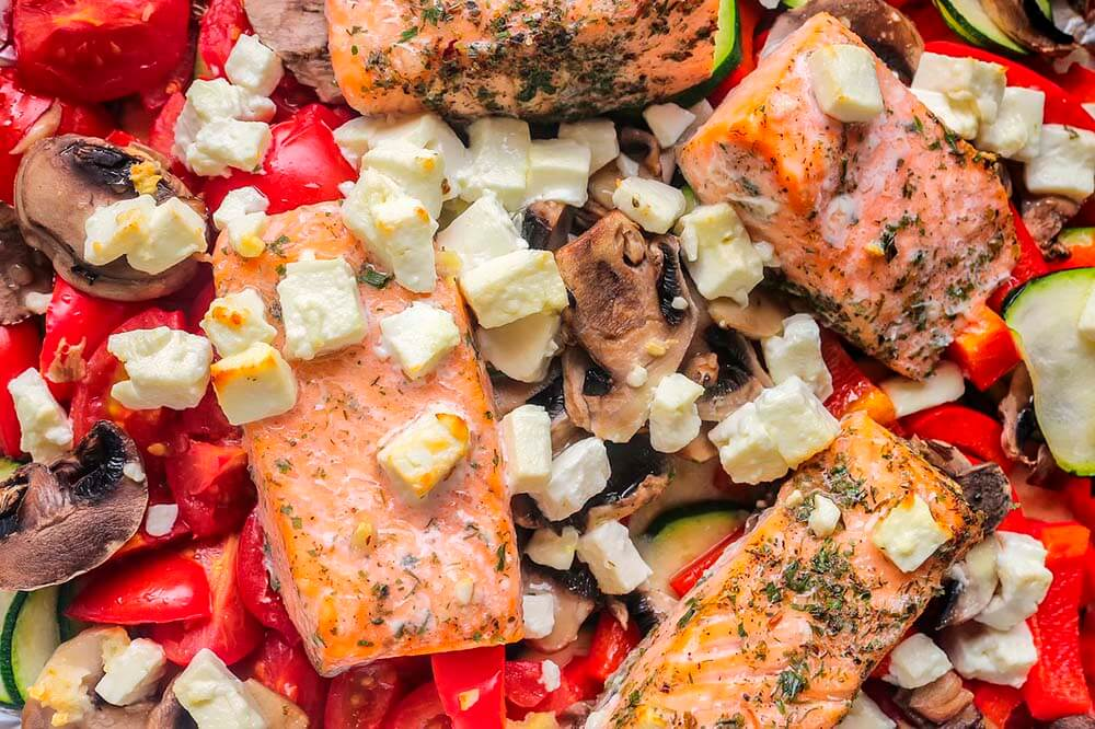 Salmon cheese mushrooms and tomatoes