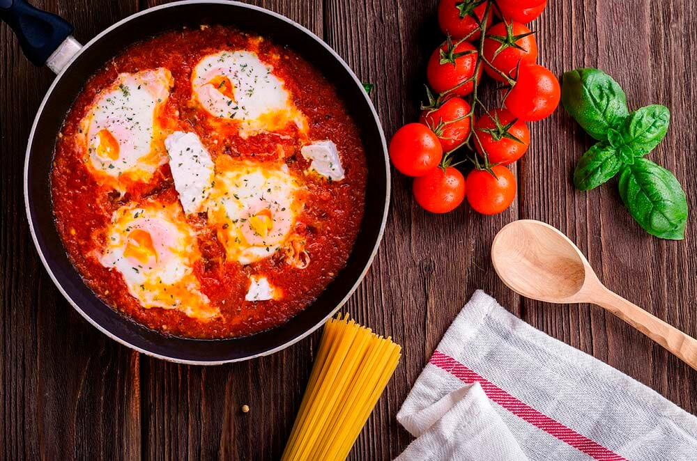 eggs on tomato soup