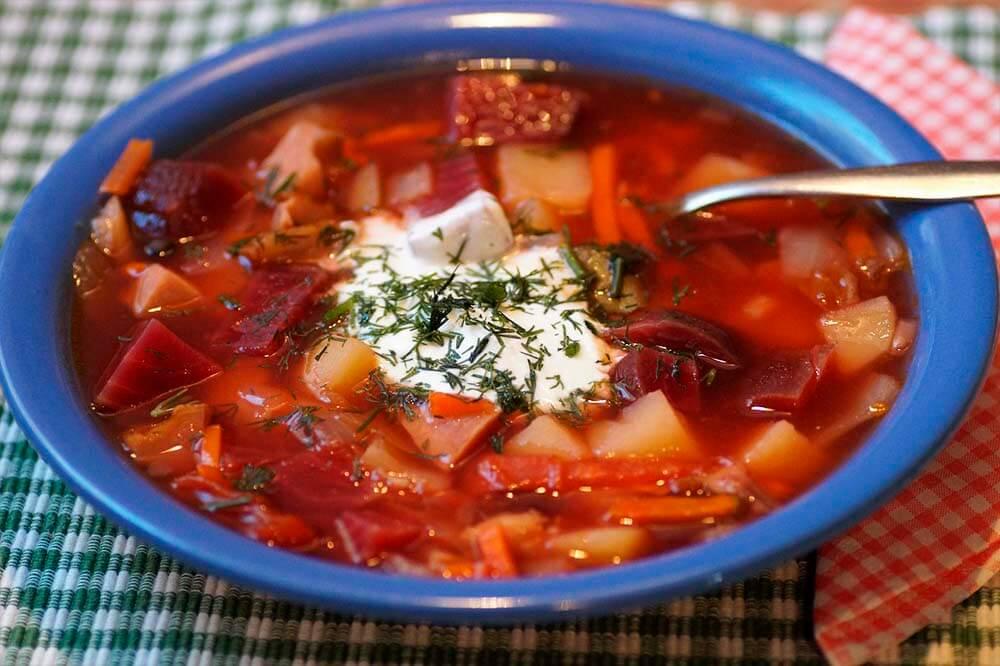 Russian borscht with sour cream