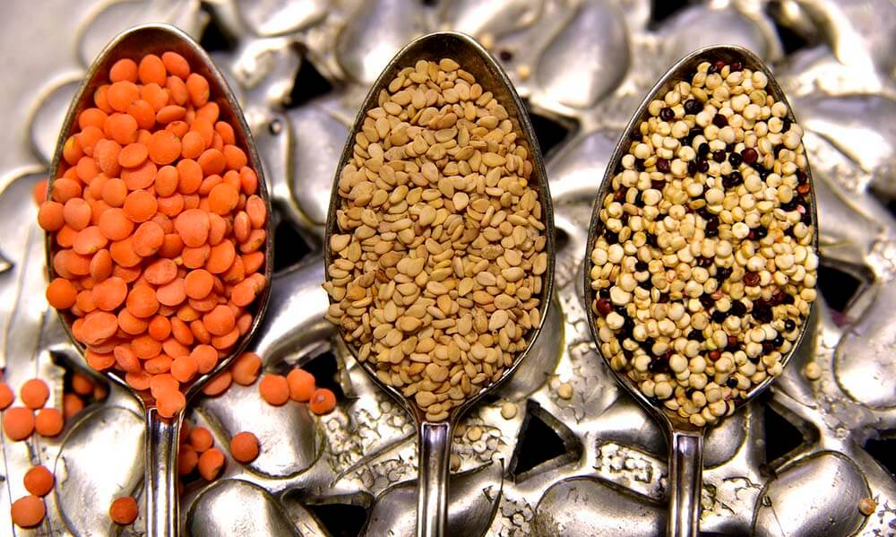 lentils on spoons