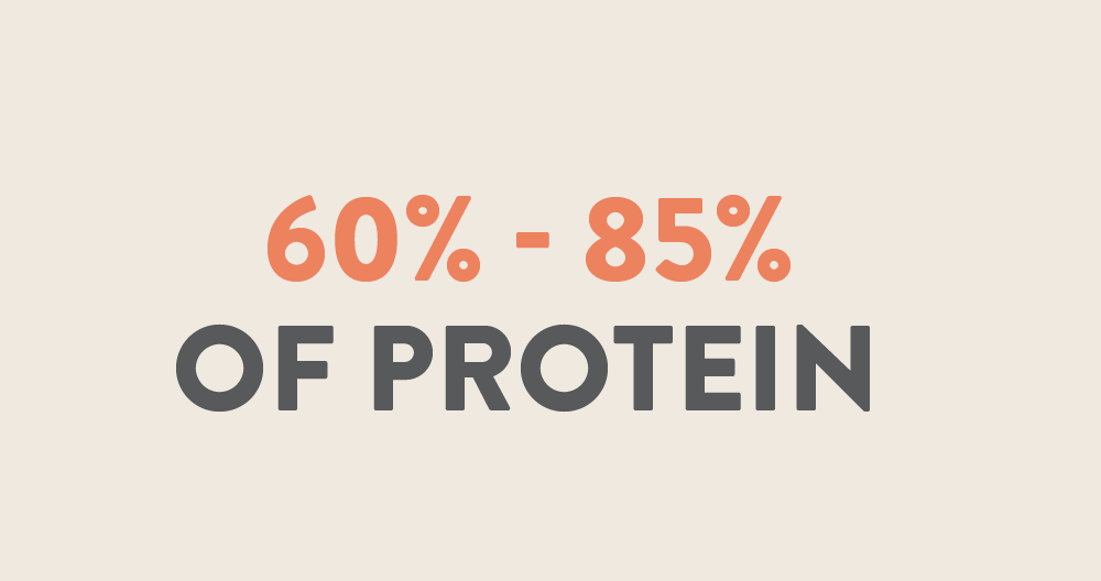 60% - 85% of protein
