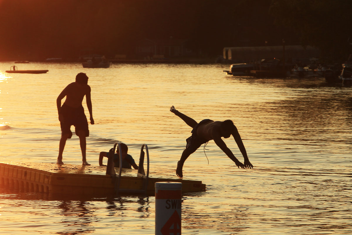 evening swimming