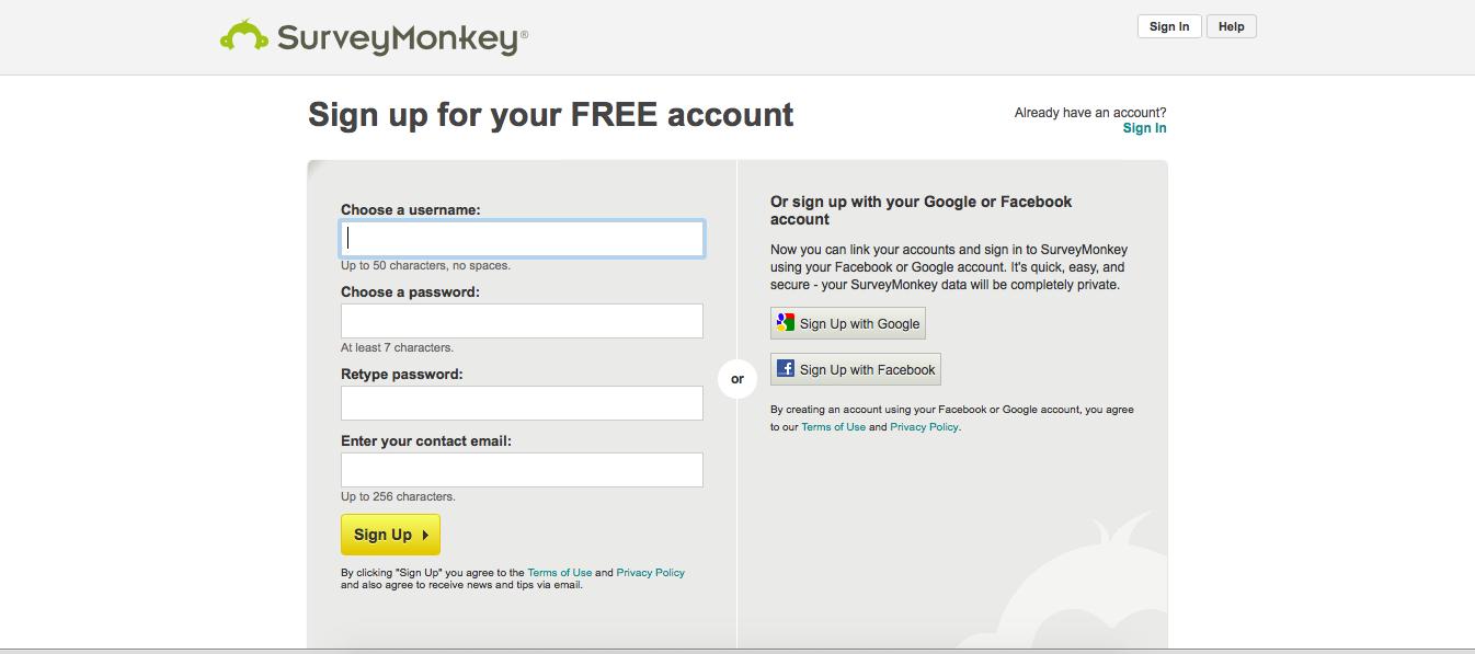 SurveyMonkey's single sign on form