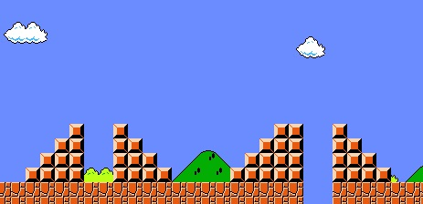 This is a screenshot of the beginning of super mario bros world 1-1 showing a gap that teaches B dash. This is an example of instructional scaffolding in video game user onboarding from classic nintendo nes games.