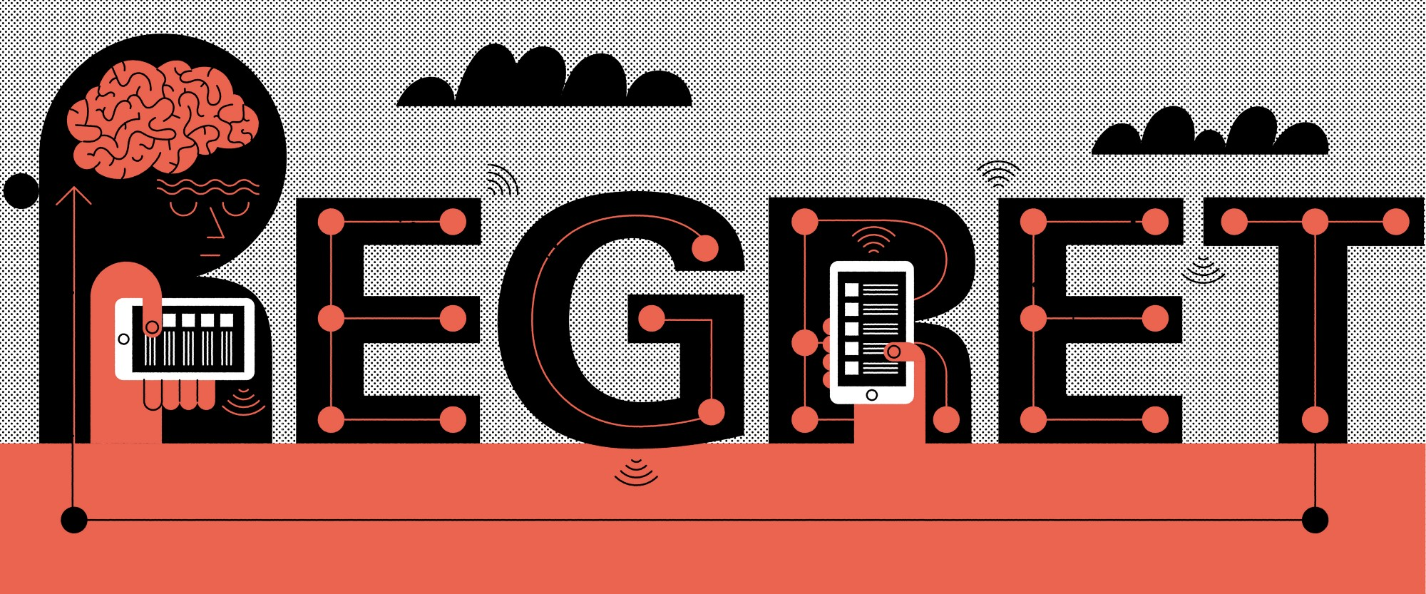 An illustration by John Devolle that says 'Regret' with a human on a mobile device