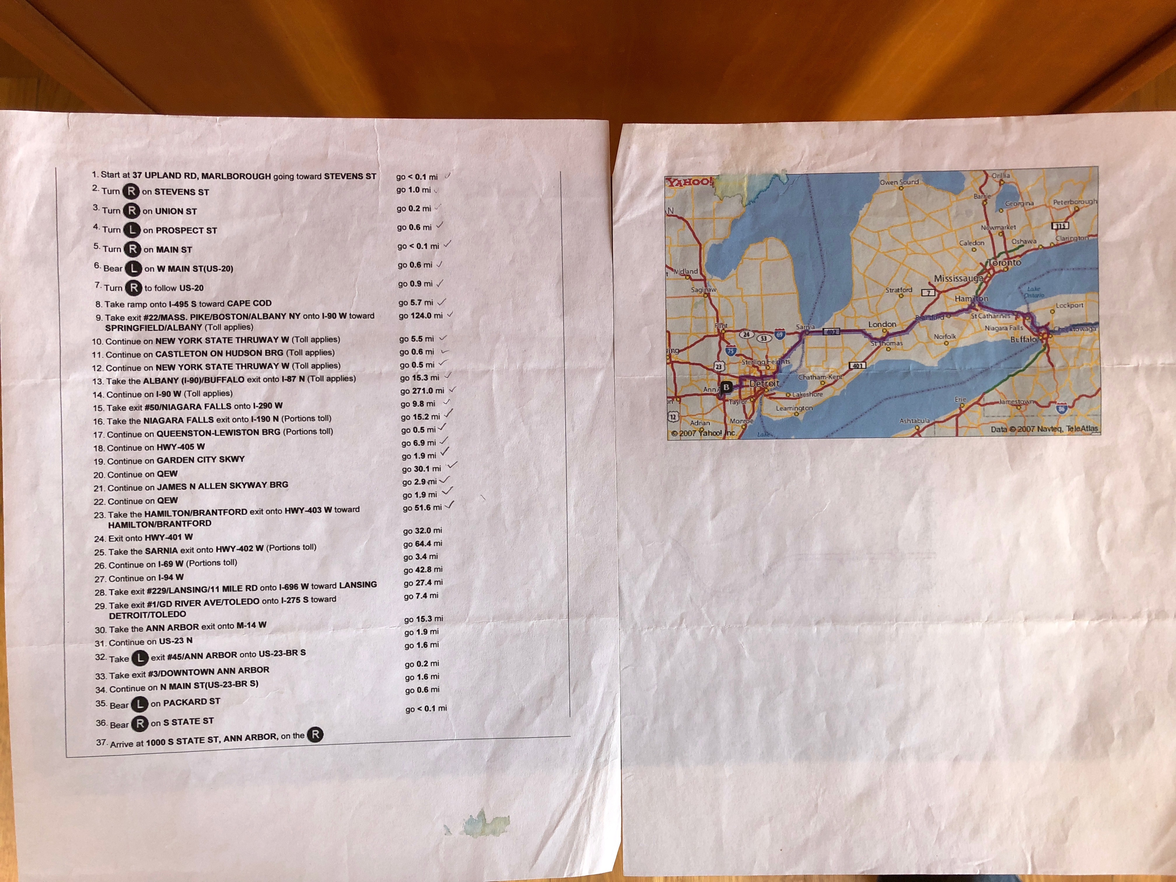A printout of MapQuest directions showing 37 steps and a tiny, illegible map