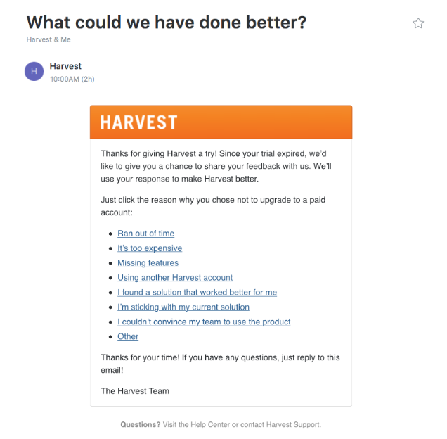 Harvest email survey