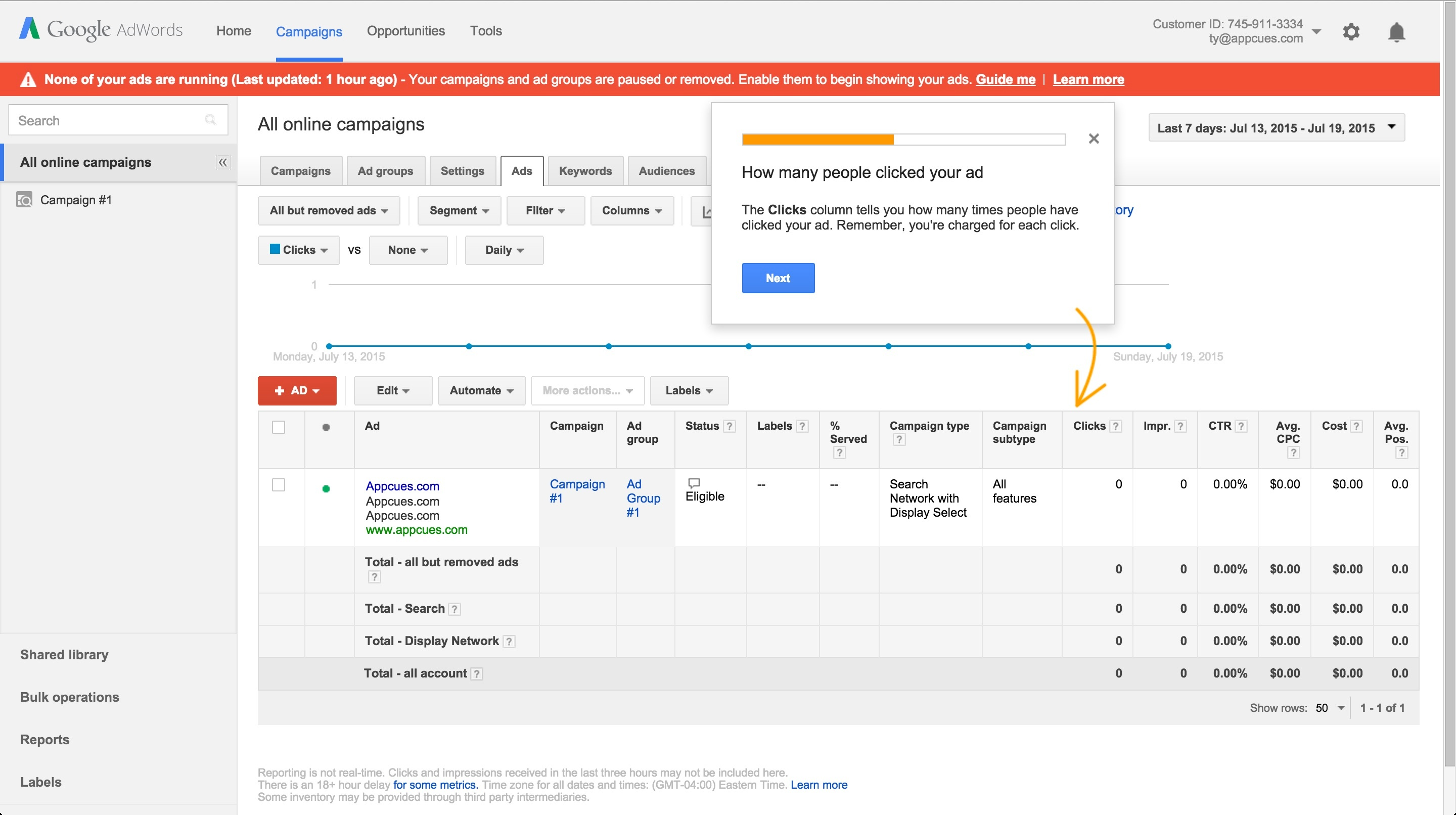 Adwords onboarding tour step 7