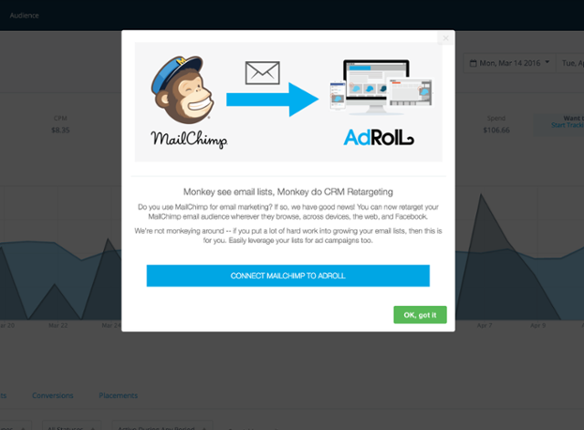Addroll only targeted Mailchimp's users for their onboarding flow