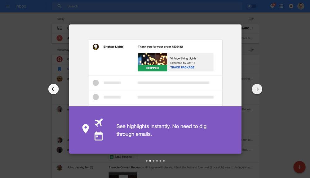 Google Inbox's walkthrough modals - step 2