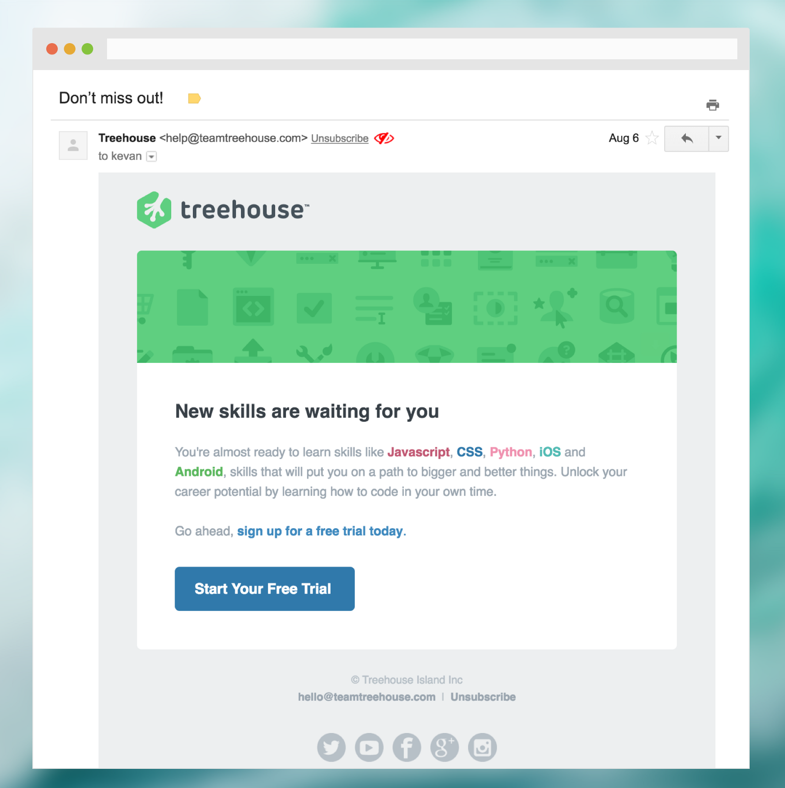 An email from Treehouse recommending the recipient to sign up for a course