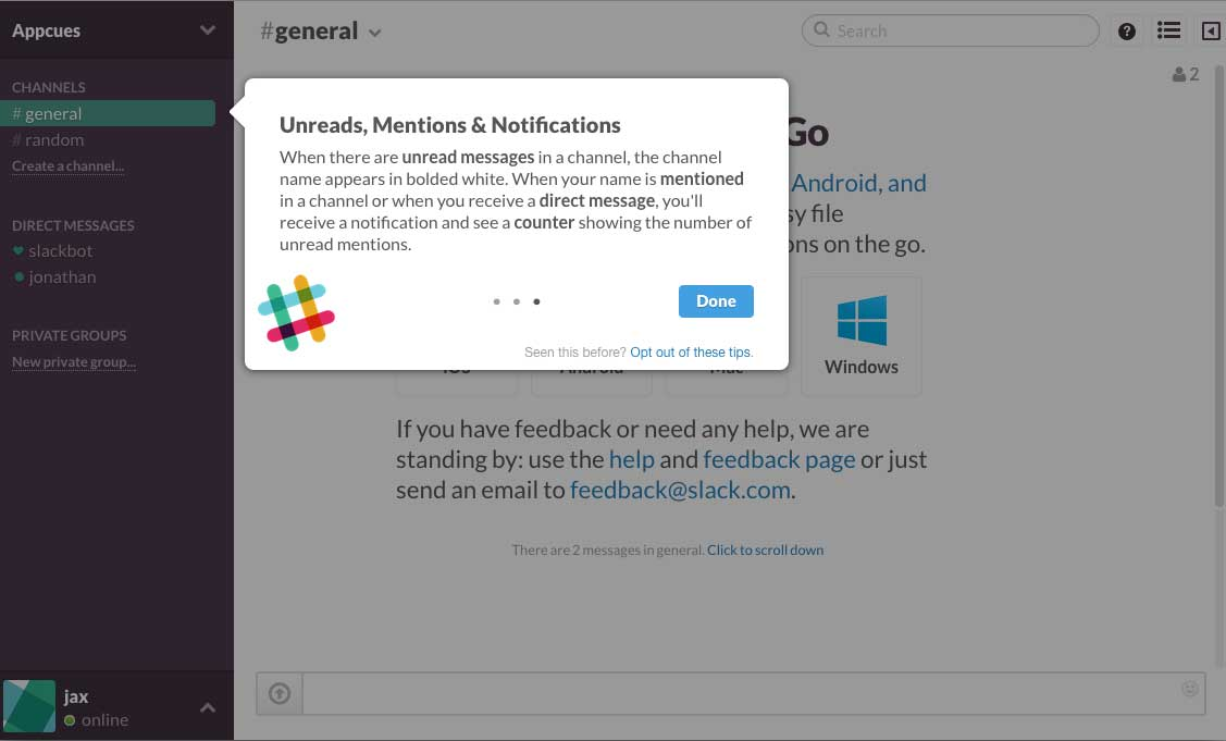 Slack user onboarding flow step 4