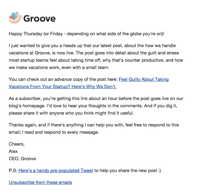 Groove early access to blog email