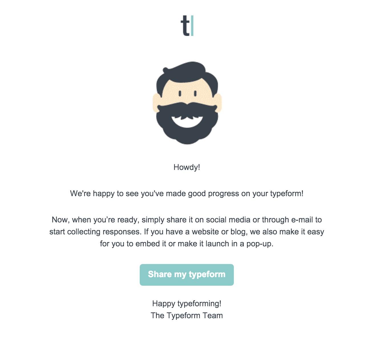 Typeform user onboarding email