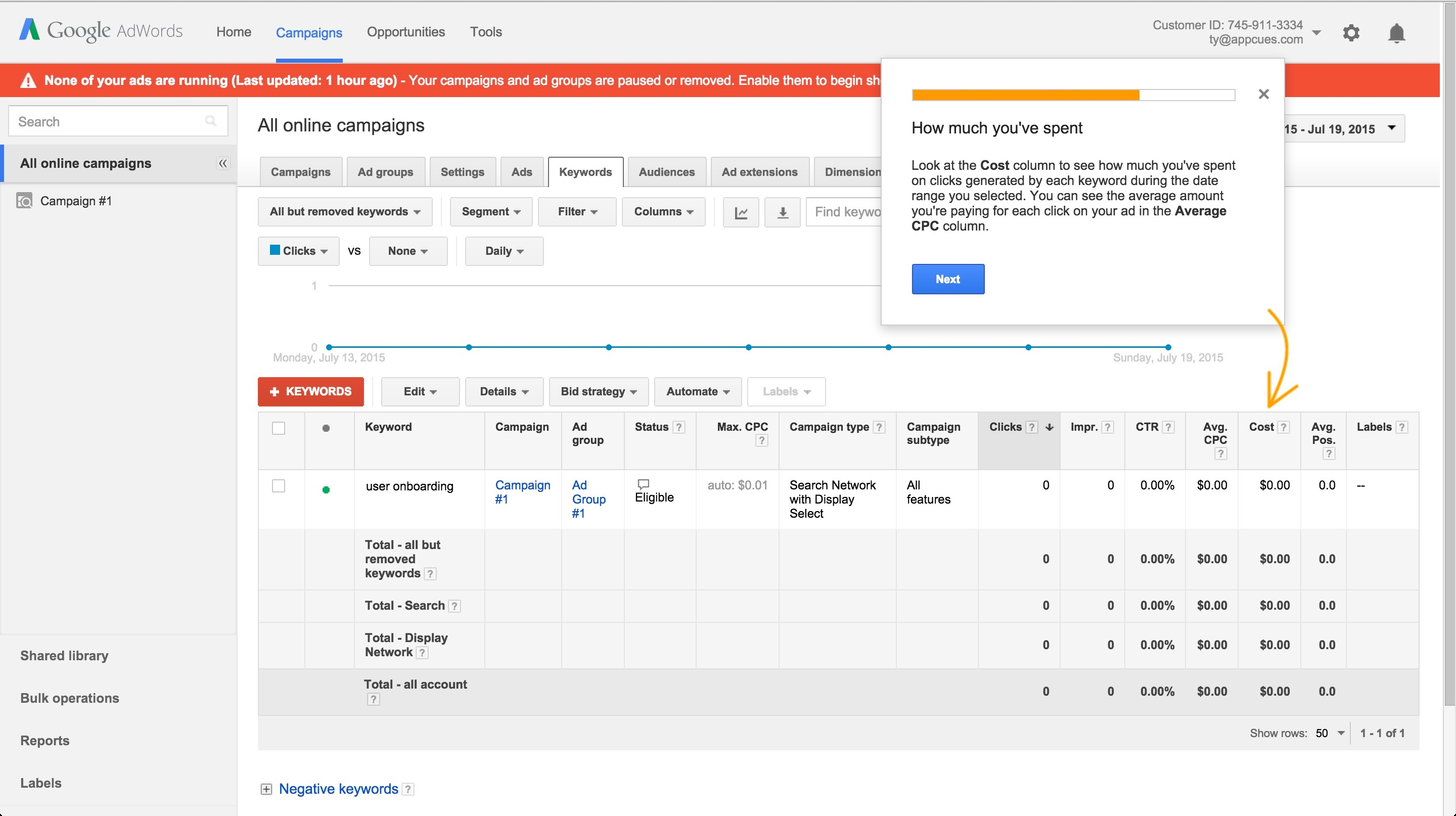 Adwords onboarding tour step 11
