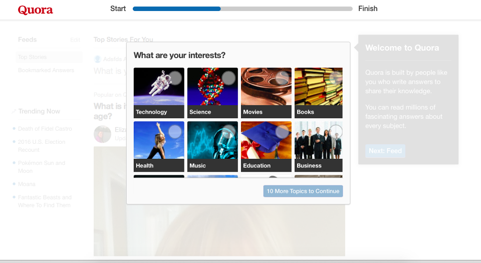 """This is a screenshot image from the website Quora that shows a user onboarding sequence with a partially completed progress bar. The question on the screen is """"what are your interests"""" and there are multiple opinons"""