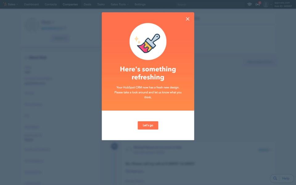 HubSpot new product launch modal window